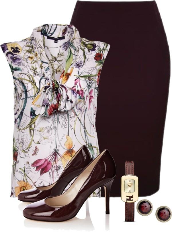 falda negra blusa blanca floreada