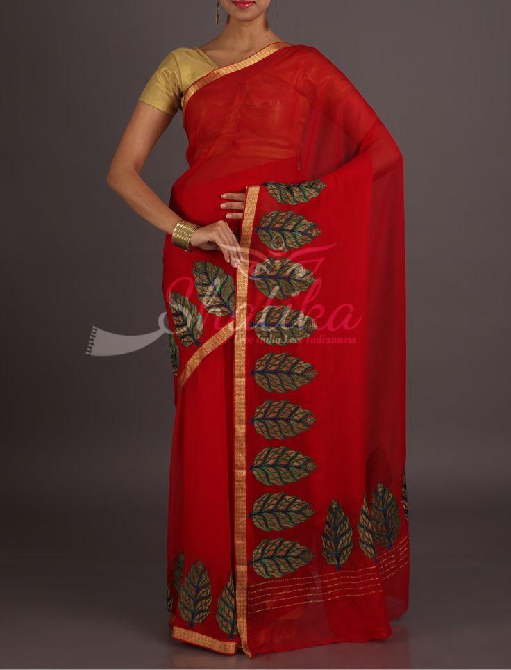Maya Ravishing Red Leaf Motifs Lace Border Pure Mysore Chiffon Saree