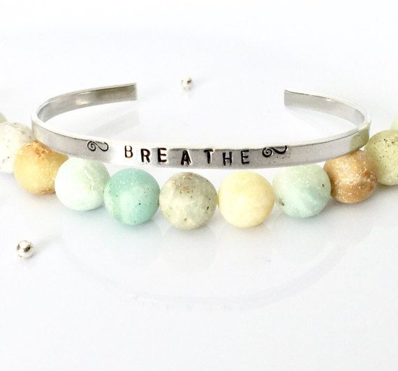Breathe Bracelet  Breathe Skinny Cuff  Hand by AprilHyltonDesigns