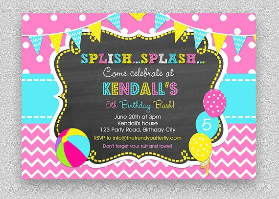 The 25 best Girl pool parties ideas – Kids Pool Party Invitation