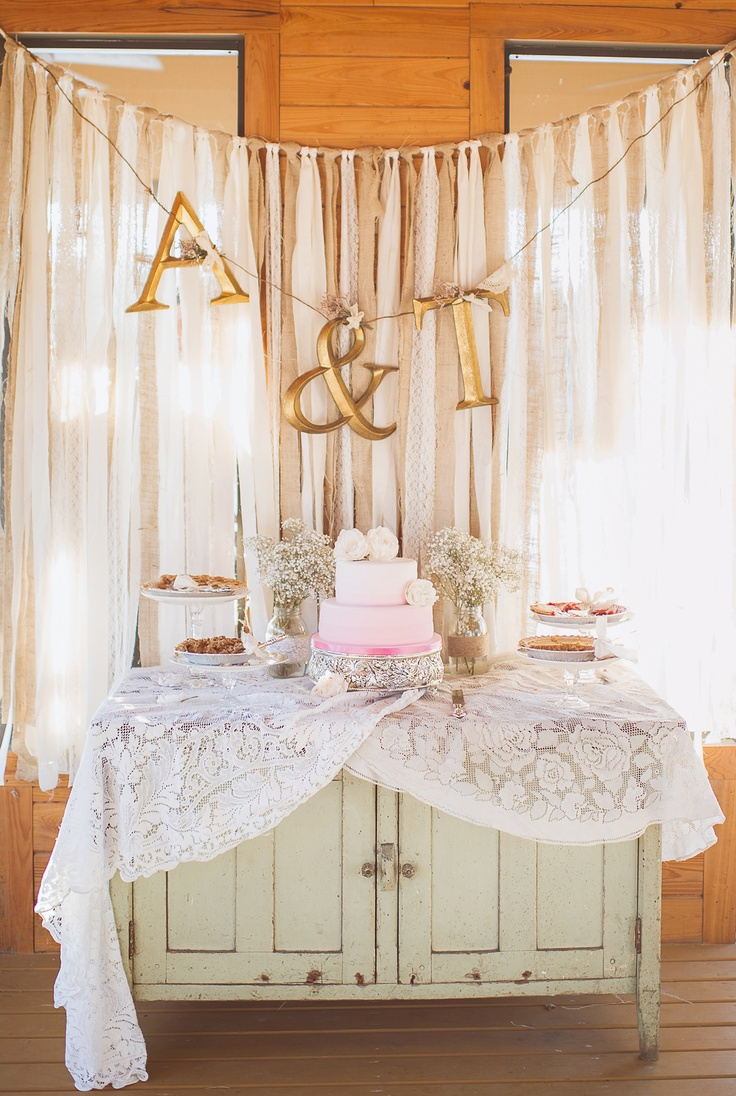 Like the general idea of an antique piece of furniture being used as cake table. Would make it a little less messy. Vintage country rustic southern wedding julie paisley photography burlap lace pink wedding cake wedding pie table