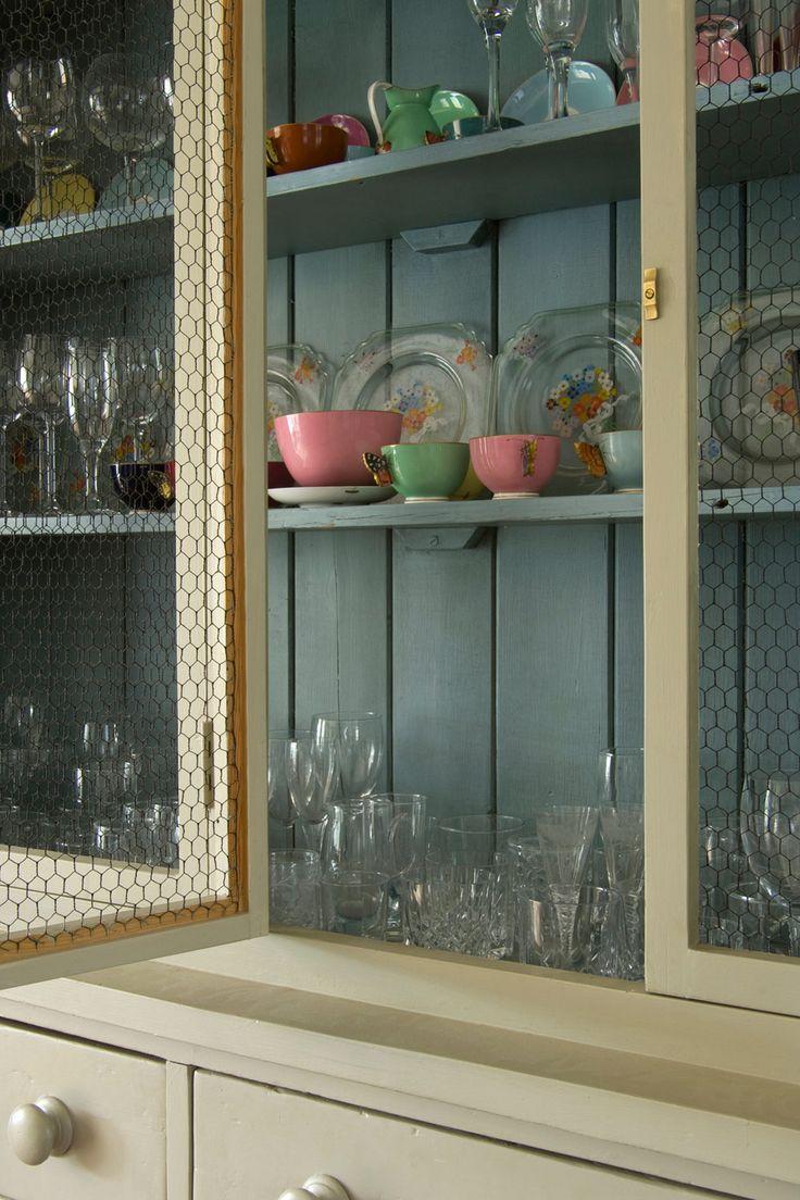 Cute way to store cups and plates. | Farrow & Ball - Lulworth Blue us.farrow-ball.com