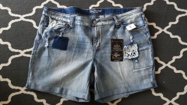 NWT Womens Love Indigo Jean Short Blue Acid Wash Pants Size 24 W  #LoveIndigo #denim