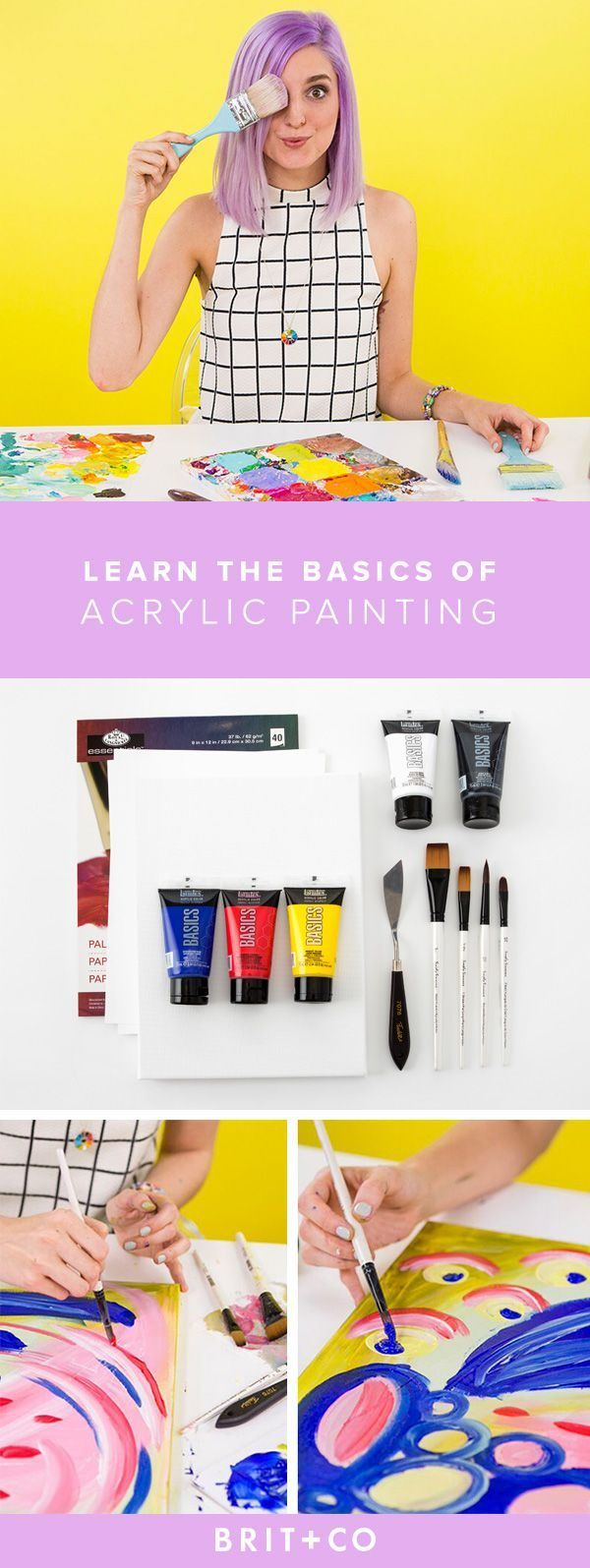 Learn how to paint with acrylics over at Brit&Co. Learn how to apply base colours to canvas and techniques to create texture with your paintings! http://www.hearthandmade.co.uk/10-best-online-craft-classes/?utm_campaign=coschedule&utm_source=pinterest&utm_medium=Heart%20Handmade%20UK&utm_content=10%20Of%20The%20Best%20Online%20Art%20Tutorials%20Around%20The%20Interwebs%21
