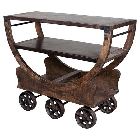 Industrial-inspired mango wood and iron bar cart with 3 shelves and 6 wheels.     Product: Bar cartConstruction Mat...