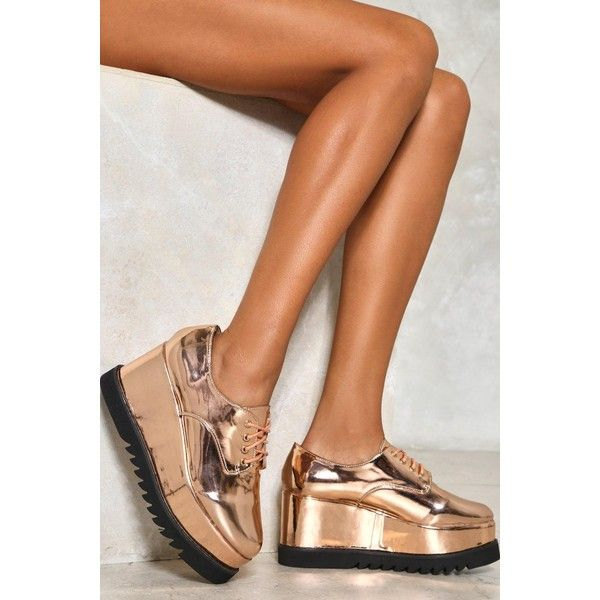 Nasty Gal Build Me Up Wedge Sneaker ($70) ❤ liked on Polyvore featuring shoes, sneakers, rose gold, wedge sneakers, platform trainers, platform wedge sneakers, lacing sneakers and platform sneakers