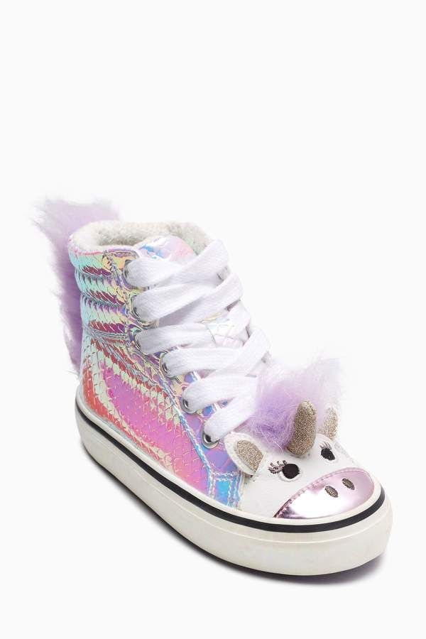 9b4fc47c827 Girls Next Iridescent Unicorn High Top Trainers.  affiliate link   unicorn   unicorntrainers  hightoptrainers
