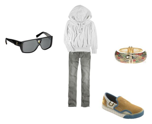 """""""ain't no hollaback girl"""" by kateoh15 ❤ liked on Polyvore featuring Abercrombie & Fitch, L.A.M.B., D&G, Matthew Williamson and Louis Vuitton"""