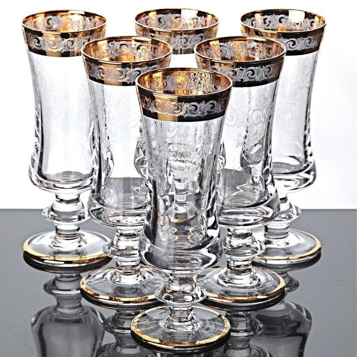 6 Sektgläser Sektkelche Murano Medici Goldrand Ätzdekor Kristall Gläser Sektglas