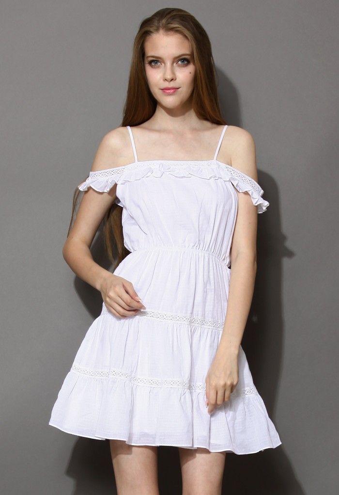 Белое Платье Со Спущенными Рукавами 57