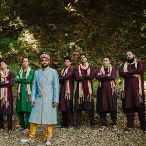 Groomsmen in maroon kurtas