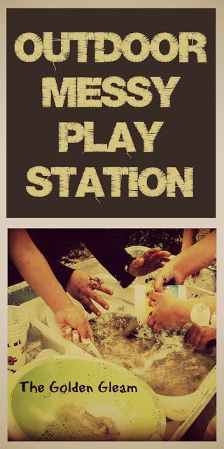 I created a messy play station for the children.   On top of two upturned pots, I placed a plastic bin.  Inside the bin, I arranged used cof...