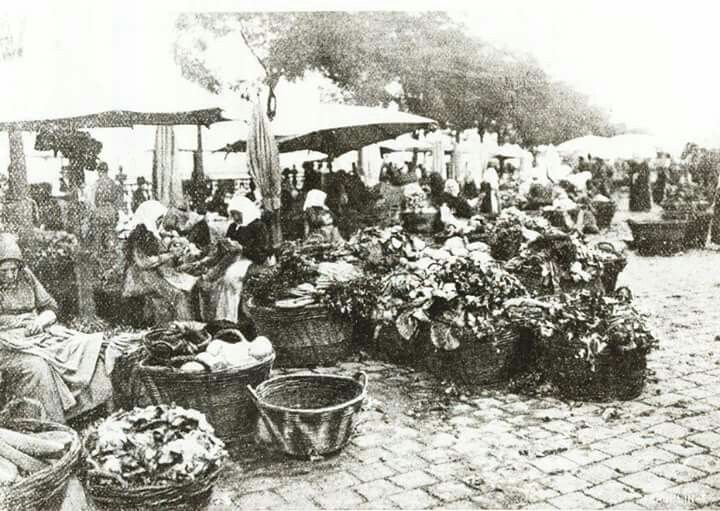 1906. Pesti rakpart, zöldségárusok.