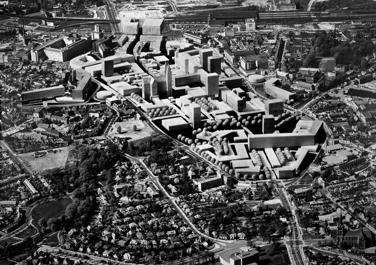 Bureau Van de Broek en Bakema, aerial photo of Eindhoven with a photomontage of the Cityplan, 1968, Broek en Bakema collection / Jan Vrijhoff / Nederlands Fotomuseum