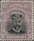 British South Africa Company, 1.9.1913, King George V., No.132, 6P purple/black. Stamped 3,29 USD. Unused 6,58 USD.