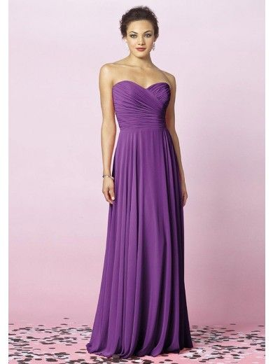 A-Line Sweetheart Pleats Floor-Length Chiffon Bridesmaid Dresses