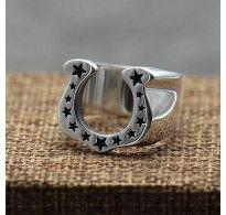 Men's Sterling Silver Stars Horseshoe Ring