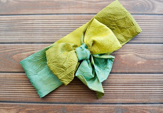 Green Ombre Turban Headband Boho Headband Bow Tie by BizimFlowers