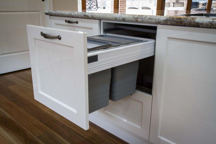 Traditional kitchen. Bin drawer. Blum & Hafele. Shaker door. www.thekitchendesigncentre.com.au