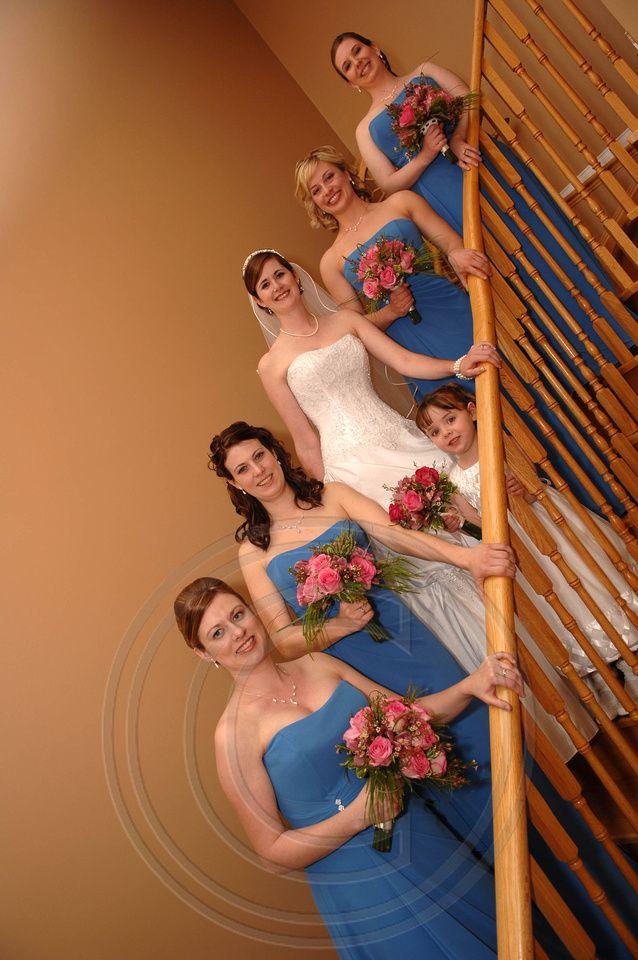 Descending bridal party in Georgetown, Ontario
