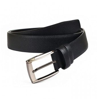 Shadow Black Grainy Textured Soft Leather Belt, Pin Buckle