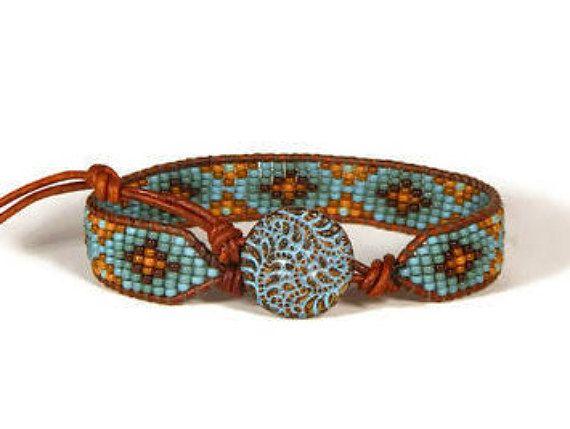 Bead Loom Bracelet Bead Loom Bracelet Fern Triskelion Blue