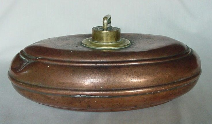 Rare Antique Vintage Oval Copper Brass Bed Foot Warmer Hot