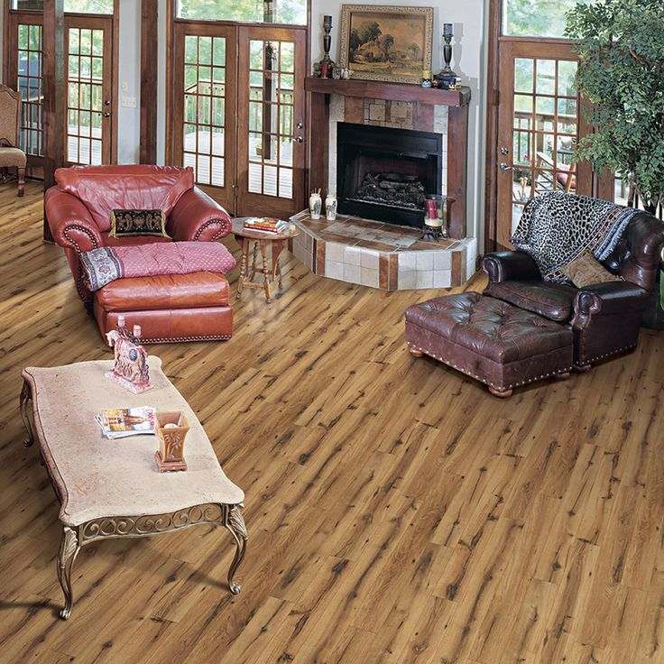 Shop Allen Roth 496 In W X 423 Ft L Lodge Oak Handscraped Kitchen Living RoomsRoom KitchenFlooring