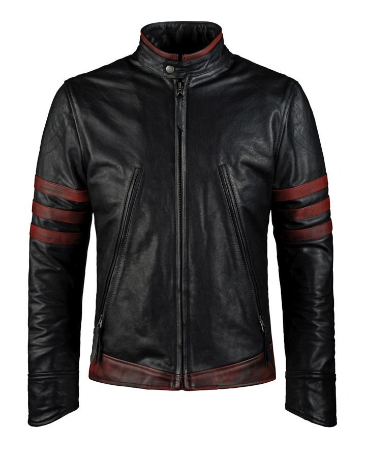 Origins - Wolverine Origins style motorcycle jacket in black Italian leather with red detail. Protection in shoulders and elbows. Italian calf leather.