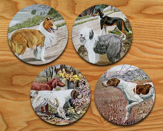 Dog Coaster Set of 4 - Vintage Dogs - Drink coasters