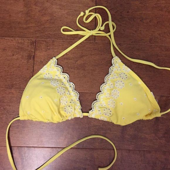 Yellow Triangle Swimsuit top Yellow floral triangle bikini top Xhilaration Swim Bikinis