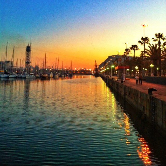 Sunset in Barcelona's harbour