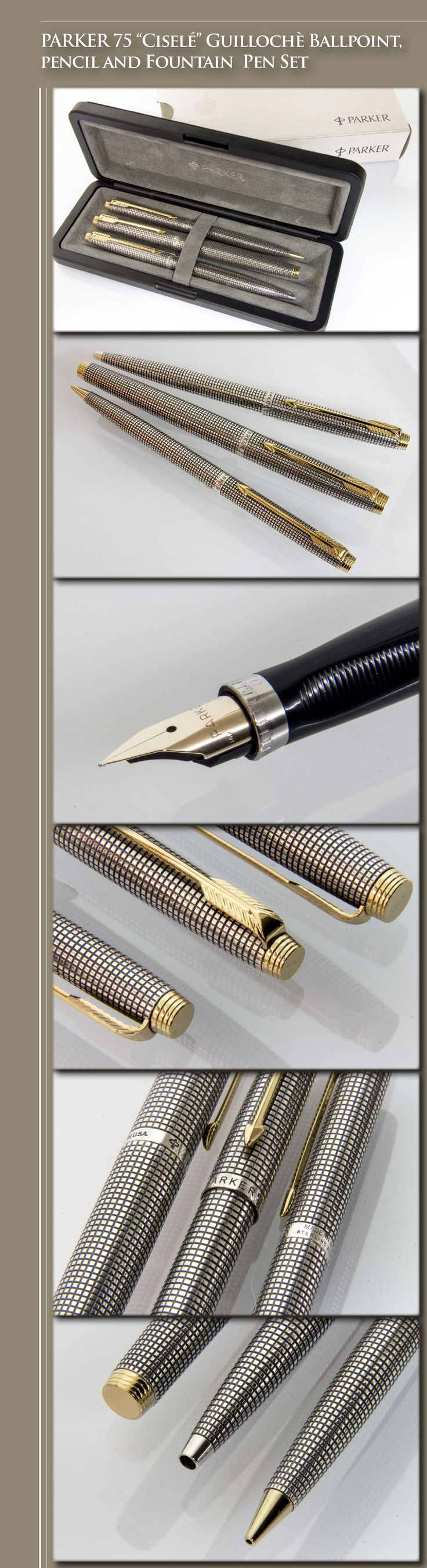 "PARKER 75 ""Ciselé Guillochè Ballpoint, Pencil and Fountain Pen Set (body in sterling silver, gold-plated trim, 14kt gold nib) - 1970s / USA"
