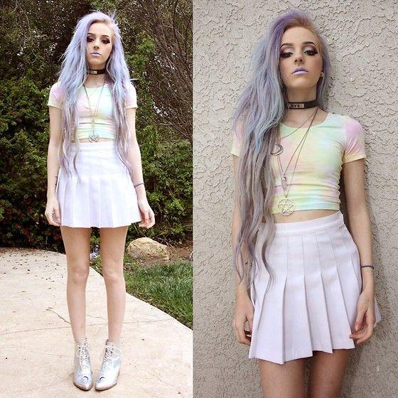 Myvl Clothing Pastel Crop, American Apparel Tennis Skirt, Yru Aura Boots, Unif Bye Choker