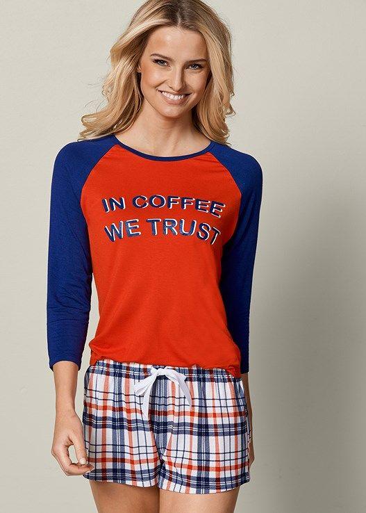 Venus Women's Coffee Pajama Short Set Pajamas - Red, Size XS