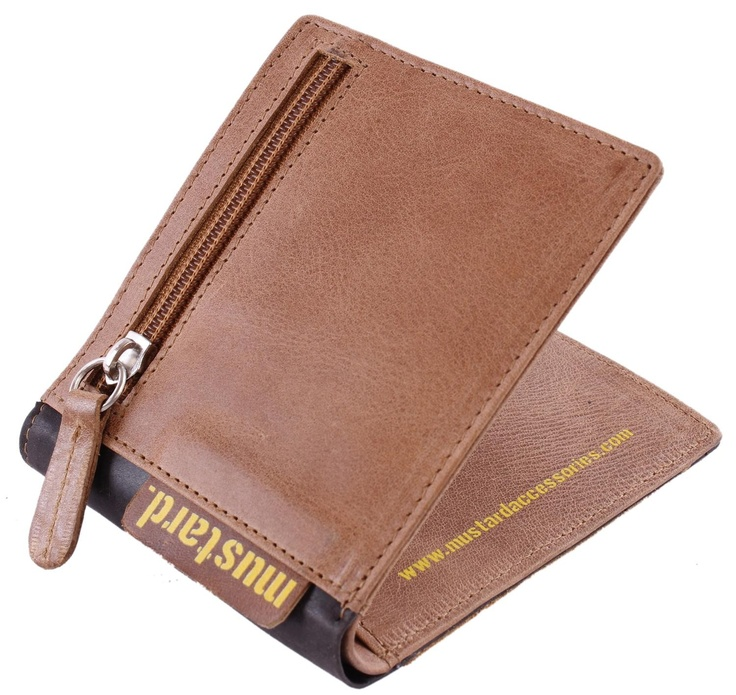 Mustard Wallet - Brown Stranger Leather Wallet #Mustard #Mens #Wallet