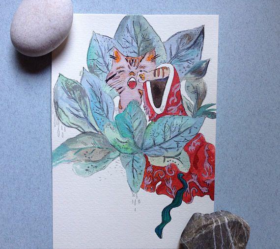 Illustrazione originale gatto illustrazione botanica gatto
