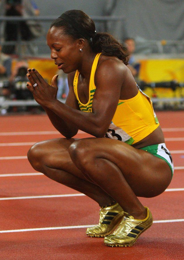 Inspirational Moments: Olympic celebrations - BEIJING - AUGUST 21: Veronica Campbell-Brown of Jamaica celebrates winning the Women's 200m Final and the gold medal held at the National Stadium during Day 13 of the Beijing 2008 Olympic Games on August 21, 2008 in Beijing, China. (Photo by Stu Forster/Getty Images)