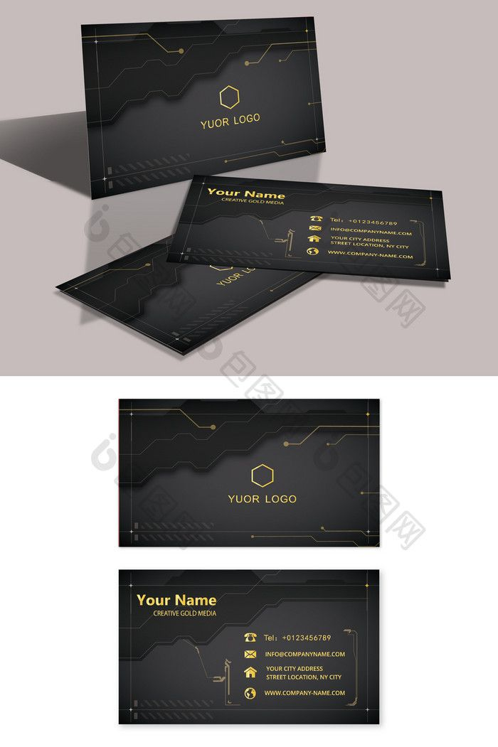 Technology Simple Creative Business Card With Images Business