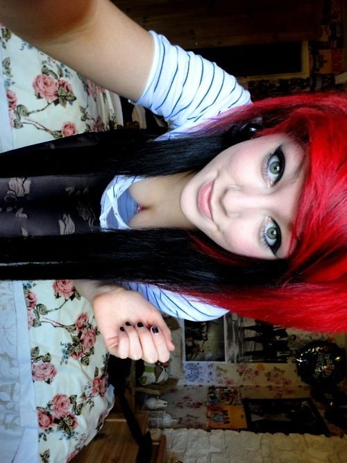 Red and black scene hair