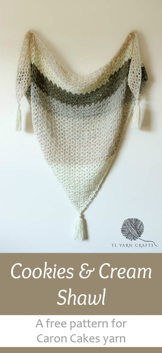 Make this easy, flowy shawl with one ball of Caron Cakes yarn from Yarnspirations