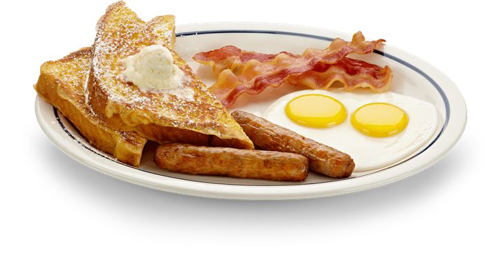 A hearty combo of two eggs, bacon strips, sausage links, French toast and buttermilk pancakes on the Breakfast Combo menu at IHOP.