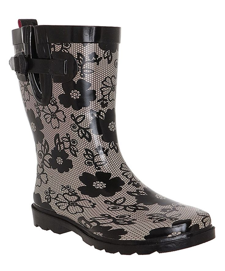 Another great find on #zulily! Capelli New York Gray Shiny Blossom Lace Rain Boot by Capelli New York #zulilyfinds