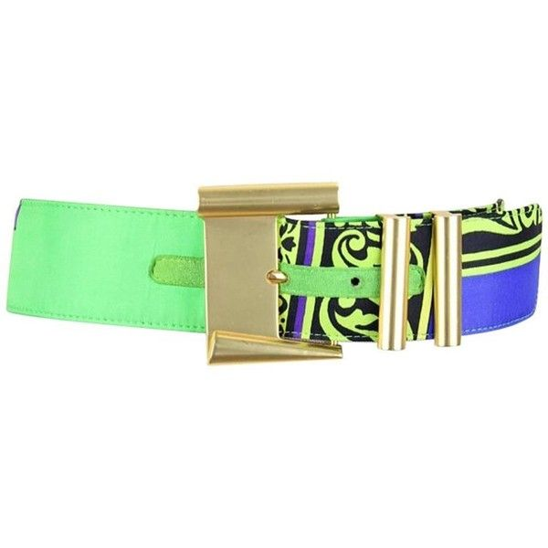 Preowned Gianni Versace Istante 1990s Vibrant Print Belt With Gold... ($264) ❤ liked on Polyvore featuring accessories, belts, green, green belt, colorful belts, multi color belt, versace and versace belt