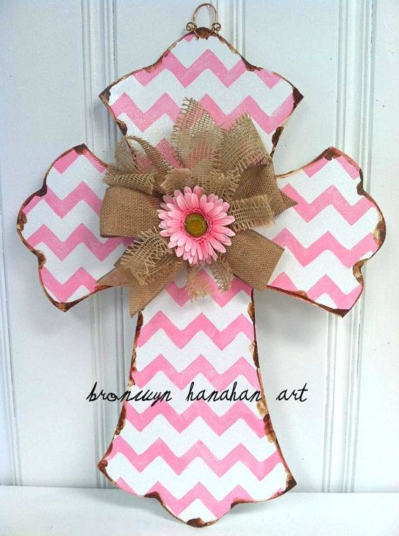 Pink Chevron Cross Door Hanger  Bronwyn by BronwynHanahanArt