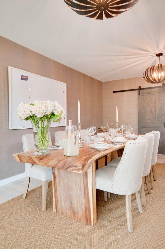 Lauren loves to cook, and this wooden dining table is the perfect place to serve up her culinary creations. One nonedible item you'll always find on her table is a bouquet of flowers. Hydrangeas are her favorite!