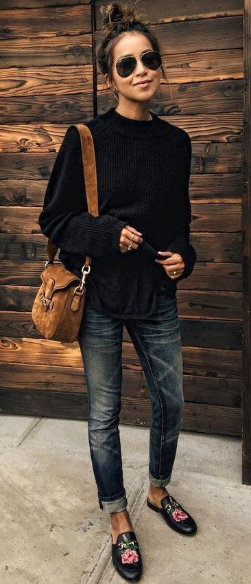 Black Knit + Skinny Jeans + Black Floral Loafers