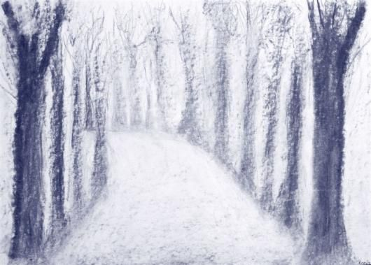 Waldorf ~ 7th grade ~ Perspective Drawing ~ Tree Lane