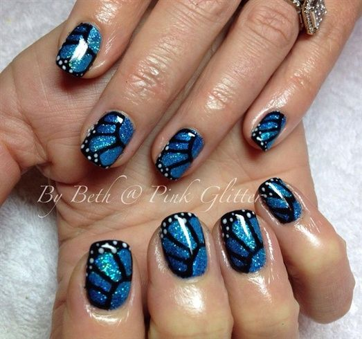 Blue Butterfly Wings by PinkGlitter - Nail Art Gallery nailartgallery.nailsmag.com by Nails Magazine www.nailsmag.com #nailart