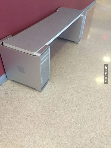 The school made a bench out of old mac computer towers.